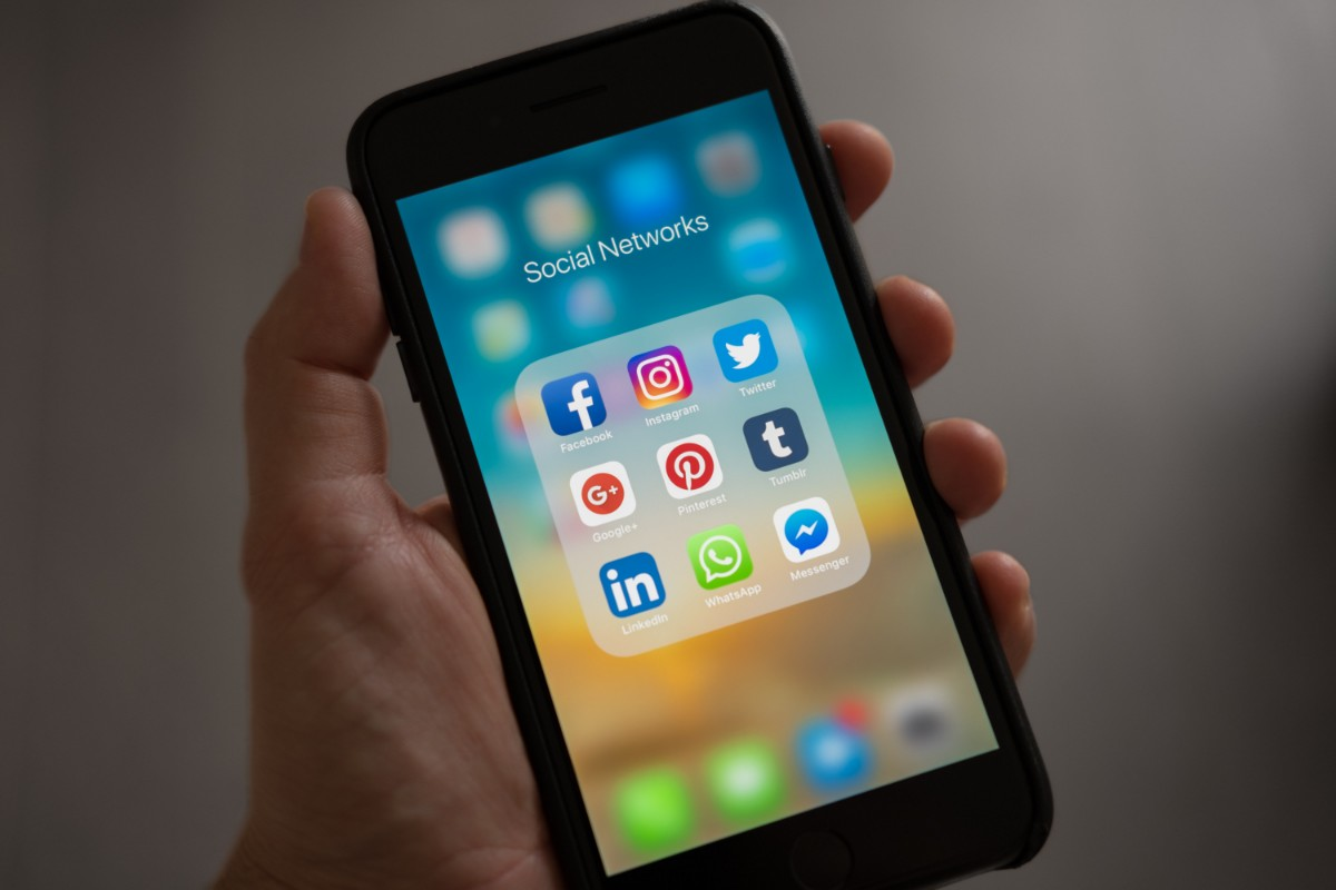 phone with social media apps on it