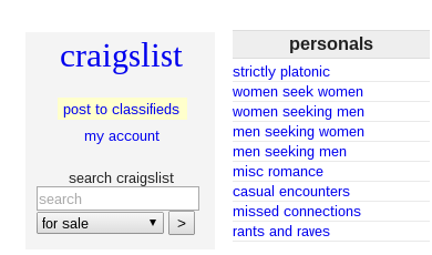 sex partners craigslist personal encounter