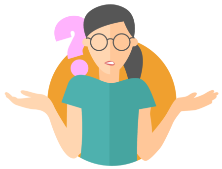 Vector image of woman in glasses questioning