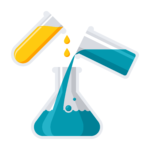 Vector image of chemicals yellow and blue chemicals being combined in a beaker