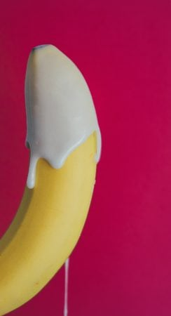 banana covered in semen-like liquid