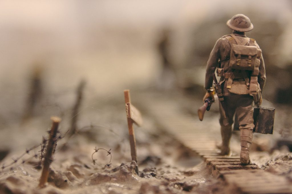 toy soldier up close walking
