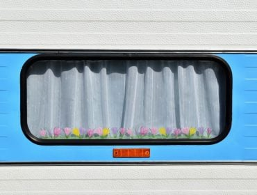 Flowers on an RV Window