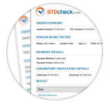 Example of STDcheck.com test result